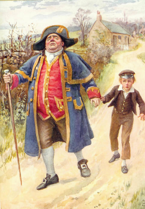 'Mr Bumble and Oliver Twist' from Oliver Twist (1837). Colour lithography by Harold Copping (1924). Image source: The Victorian Web. Scanned image by Philip V. Allingham.