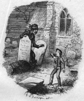 'The Terrible Stranger in the Churchyard'. Pip meets Abel Magwitch in Great Expectations. Etching is by F. W. Pailthorpe (c1900). Image Source: The Victorian Web. Scanned image and text George P. Landow.