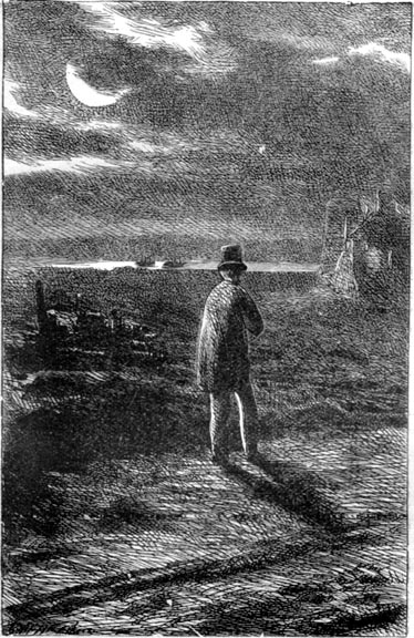 'On The Marshes by the Lime-kiln'. Pip visits the Marshes. Great Expectations.  A wood engraving by Marcus Stone (1862). Image source: The Victorian Web. Scanned image and text by Philip V. Allingham.