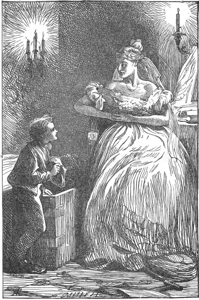 'Pip waits on Miss Havisham'. Great Expectations. Wood-engraving by Marcus Stone (1862). Image source: The Victorian Web. Scanned image and text by Philip V. Allingham.