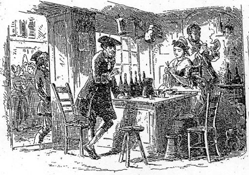 'The Wine-Shop' by Hablot K. Browne ('Phiz'). Illustration from A Tale of Two Cities (1859). Book II, Chapter 6, published in All Year Round, September 1859, (issued 6th August). Image source: The Victorian Web. Image scan and text by Philip V. Allingham. Formatting and image correction by George P. Landow.