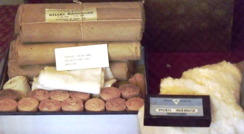 Bandages, cotton wool and gauze used in World War One.