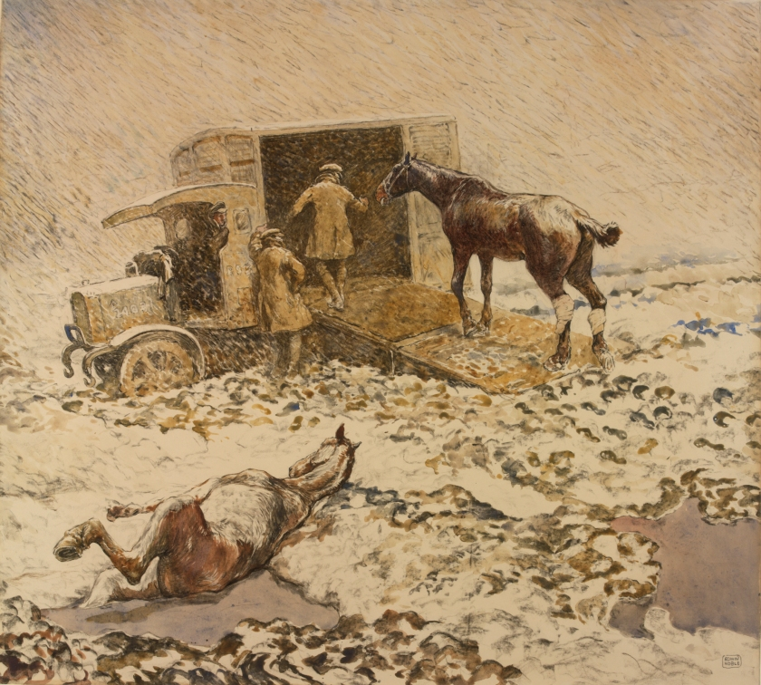 Edwin Noble's 'An Injured horse being loaded into a motor ambulance'. Image courtesy of The Imperial War Museum (IWM).