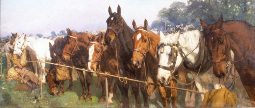 Lucy Kemp-Welch's 'Mixed Company at a Race Meeting'. Oil on canvas (1905). Image courtesy of  Lucy Kemp-Welch Memorial Trust Collection.