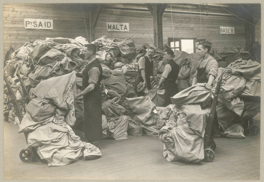 Temporary storage of mail bags in readiness for despatching to Malta's military base during the First World War.
