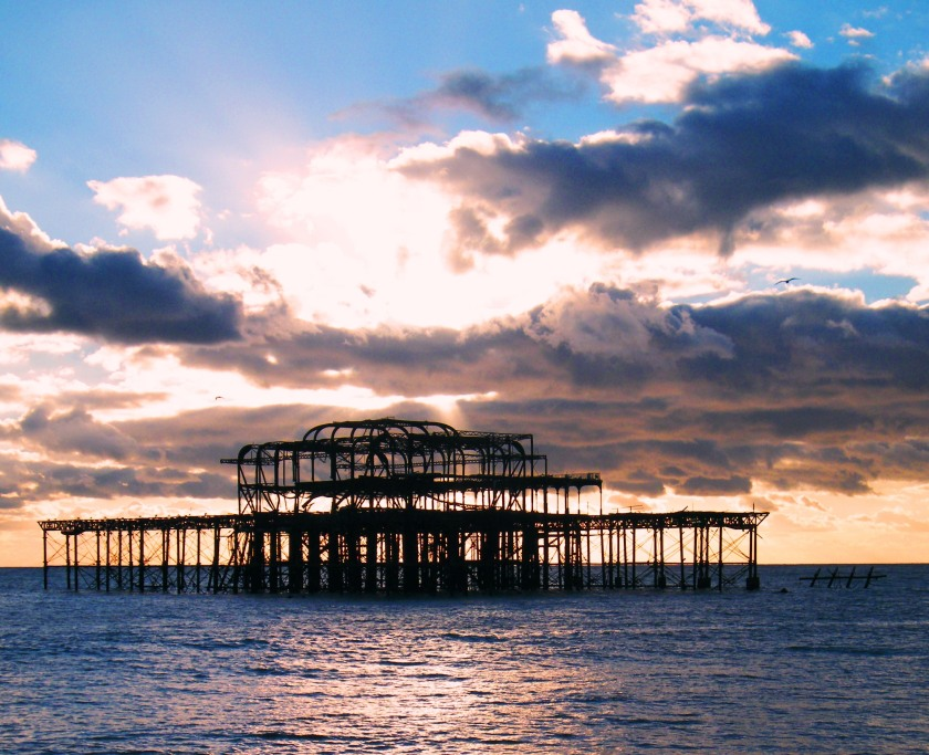 Brighton's West Pier, November, 2013. Designed by Eugenius Birch, opened on the 5th October, 1866. It fell into decline in 2002 and was destroyed by a huge fire in 2003. In the recent 2014 storms, the structure split in two and section fell into the sea. ©Come Step Back In Time.