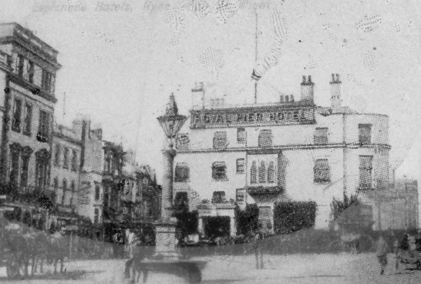 Royal Pier Hotel, Ryde, Isle of Wight. Built shortly after the pier opened in 1814 to cater for the increase in visitors coming to the Island to see the pier. The Hotel was demolished in 1931.