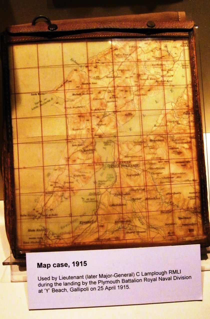 "Map case, 1915. Used by Lieutenant (Later Major-General) C Lamplough RMLI during the landing by the Plymouth Battalion Royal Naval Division at ""Y"" Beach, Gallipoli (25th April, 1915). On display at The Royal Marines Museum, Eastney. Image ©Come Step Back in Time."