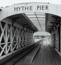 Hythe Pier, Hampshire, November, 2013. Opened on the 1st January, 1881. The tramway opened in 1909. After the First World War, a second-hand locomotive was purchased from the Avon Mustard Gas Factory and brought into use on the pier in 1922. It still operates today. The pier is one of the longest in Britain. ©Come Step Back In Time.
