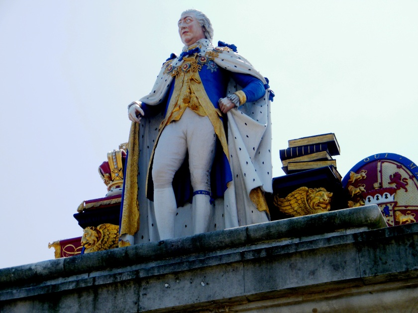 Recently renovated statue of King George III. Erected on Weymouth seafront and commissioned by the 'Grateful Inhabitants' of the town. Unveiled in 1810 to commemorate the royal patronage. ©Come Step Back in Time.
