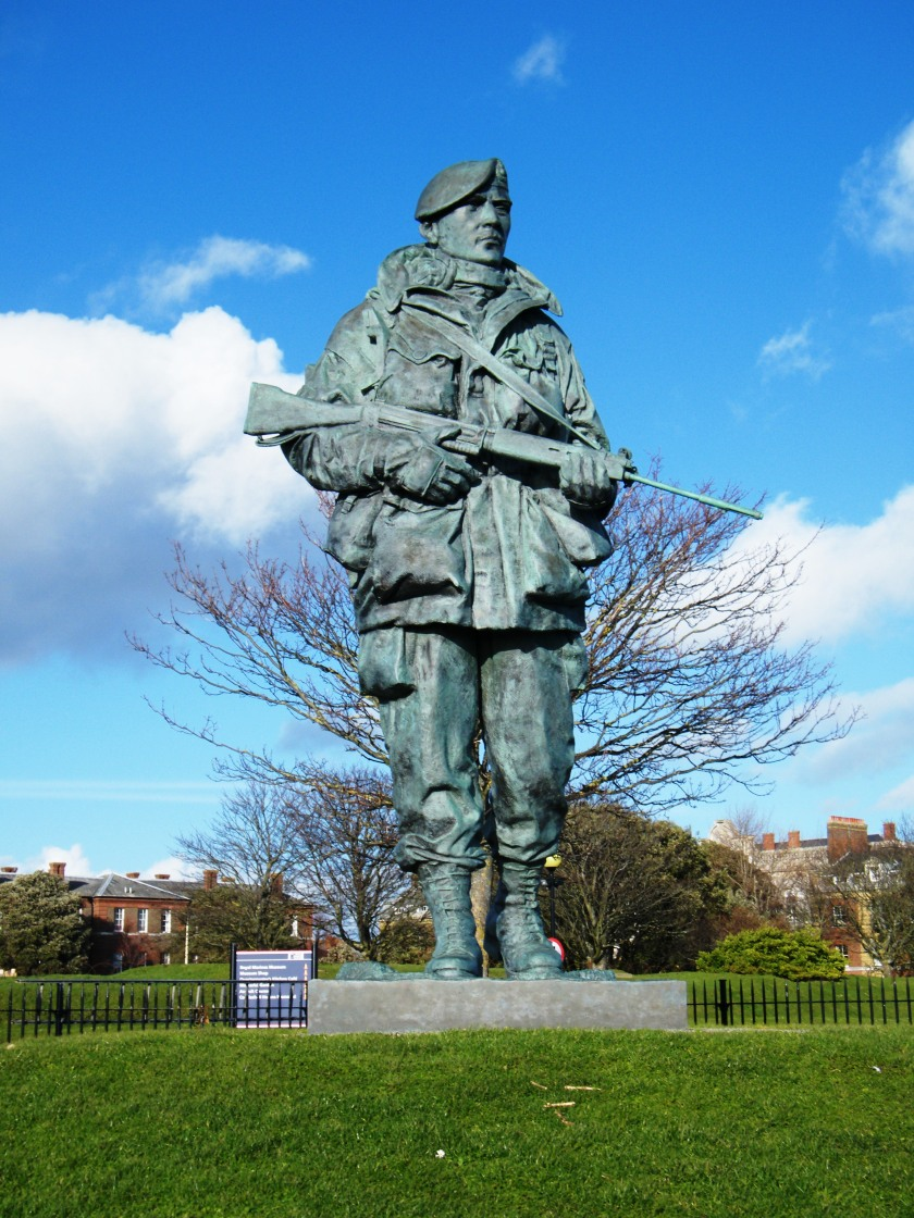 'Yomper' statue located outside the Royal Marines Museum, Southsea.