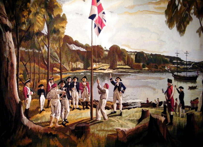 Tapestry interprets the painting by Algernon Talmage (1871-1939) depicting the founding of Australia, 26th January, 1788. The tapestry was woven at the Victorian Tapestry Workshop by Irene Creedon, assisted by Joy Smith. On display at The Royal Marines Museum, Southsea.