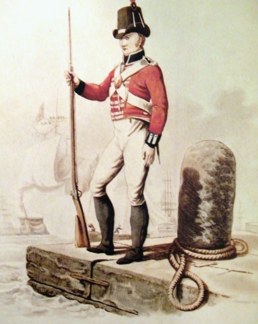 Copy of a coloured aquatint showing a Private of the Royal Marines c.1807 by I.C. Stadler. On display at The Royal Marines Museum, Southsea.