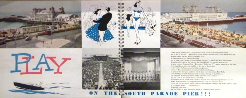 Publicity material created in the 1950s to attract visitors to Southsea and specifically, South Parade Pier. On display at Portsmouth City Museum.