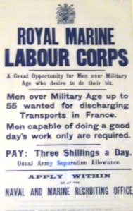 World War One recruitment poster for The Royal Marine Labour Corps. On display at the Royal Marines Museum, Southsea.