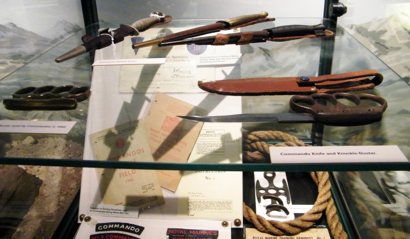 Objects used by Royal Marines Commandos during the Second World War. On display at The Royal Marines Museum, Eastney. Image ©Come Step Back in Time.