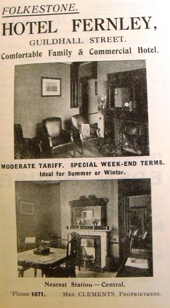Advertisement for hotel/holiday lodgings from a 1920s tourist guidebook for Kent.