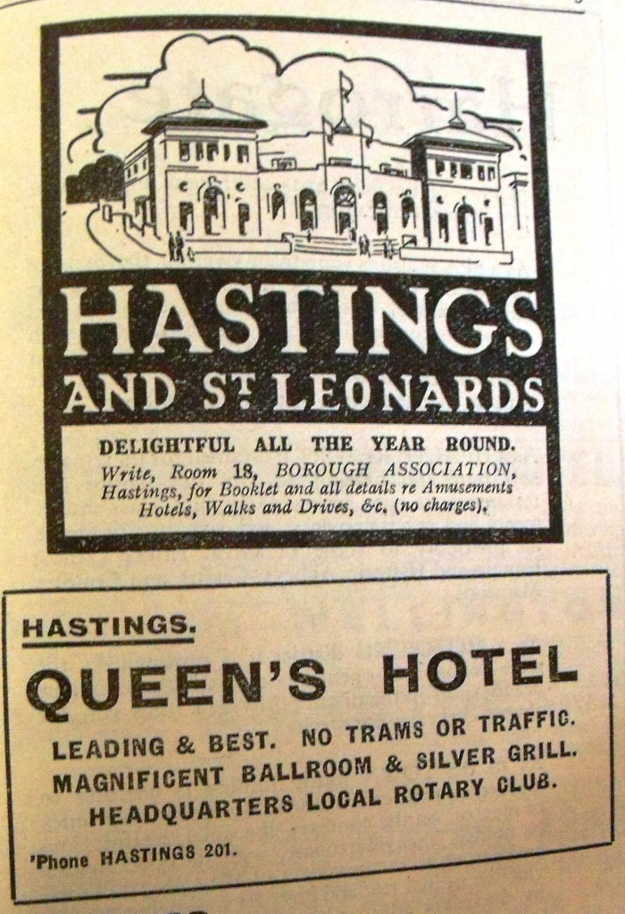 Enticing tourists to Hastings and St. Leonards. Tourist guidebook advertisements from the 1920s.