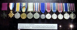 Lieutenant N. A. Finch VC, Royal Marines. Medals awarded to him on display at The Royal Marines Museum, Southsea.