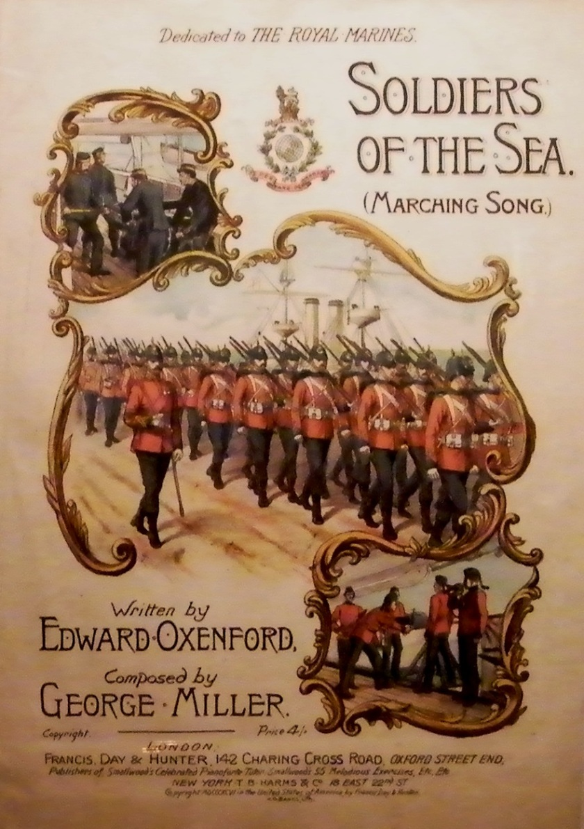 "Published sheet music for the George Miller composition ""Soldiers of the Sea"" (1896). Exhibit at The Royal Marines Museum, Eastney. Image ©Come Step Back in Time."