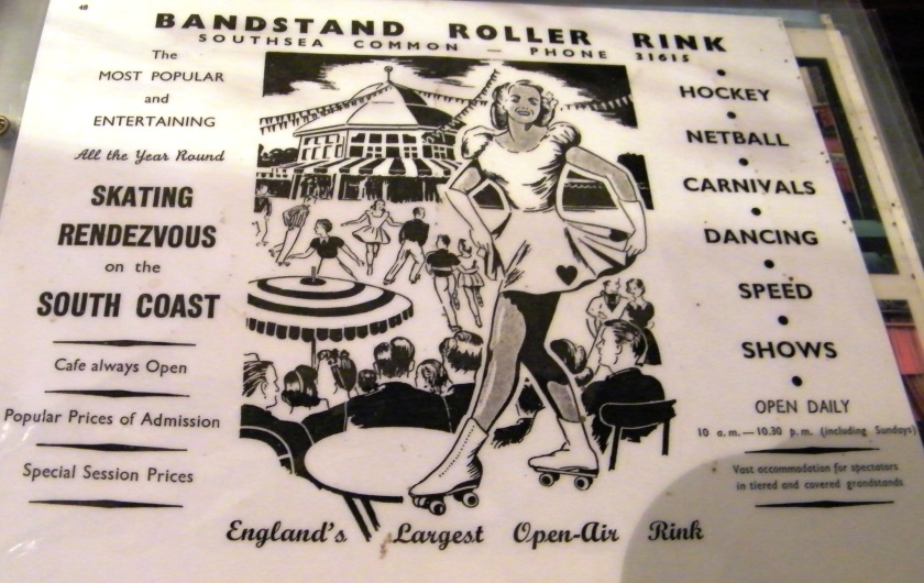 A 1961 advertisement for the Open Air Roller Rink and Dance Floor located at the Bandstand Enclosure on Southsea Common. There was also an indoor roller rink at the end of South Parade Pier, Southsea. On display at Portsmouth City Museum.