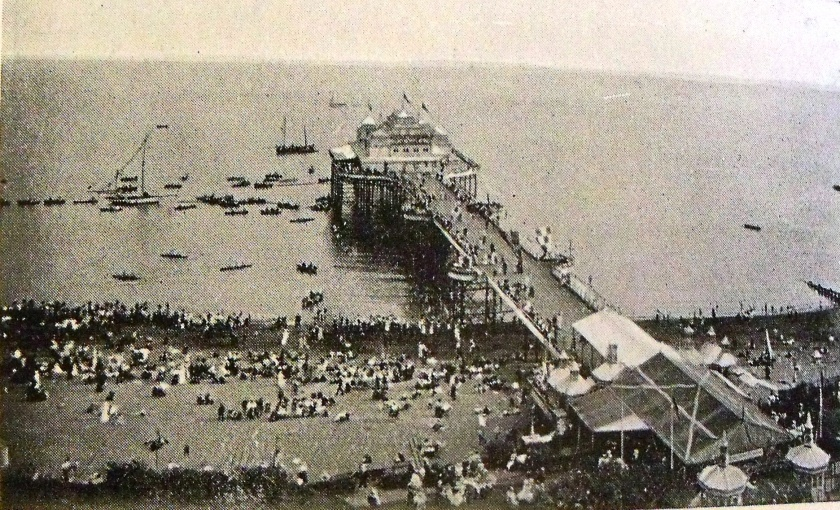 Victoria Pier, Folkestone, Kent, c.1927. The pier opened on the 21st July, 1888. In 1907, a seven hundred seat pavilion was added. It was destroyed by fire in 1943 and subsequently demolished in 1954.