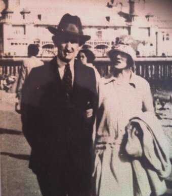 Southsea businessman, Robert Pearce's grandparents on Southsea beach in the 1920s. You can see the South Parade Pier in the background.