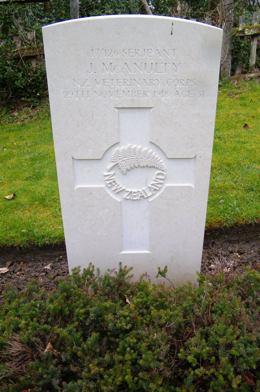 Sergeant James McAnulty was a member of the New Zealand Veterinary Corps. He was born on 13th November, 1887, and died of sickness on 29th November, 1918, aged 31. Prior to enlisting he had worked as a plumber. St. Nicholas Church cemetery, Brockenhurst, New Forest. ©Come Step Back in Time.