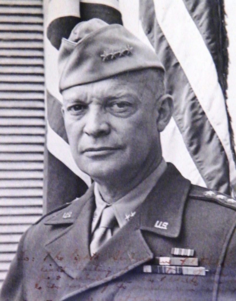 ©Come Step Back In Time. General Eisenhower, signed photograph that hangs on the wall of the the Eisenhower Room at Southwick House. Defence School of Policing and Guarding (DSPG).