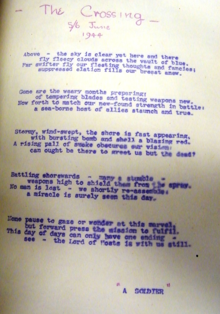 Poem that was reprinted in the 'Southwick Siren', news journal of CHQ, Fort Southwick. This is from the D-Day issued of that journal. The donor, Sub Lieutenant Derek Watson RNVR, served on Admiral Sir Bertram Ramsay's staff in the Plotting Room at Fort Southwick. He was on duty on D-Day, from 0800 hours to lunchtime. This item is from the D-Day Museum Archives. Index Key PORMG 1994.41.