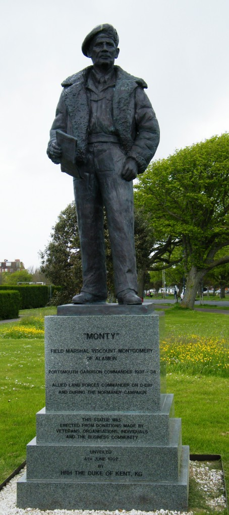 ©Come Step Back In Time.  Field Marshal Bernard Law Montgomery, statue opposite the D-Day Museum, Portsmouth, Hampshire.