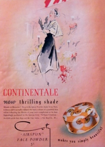 Advertisement for Coty's 'Air Spun' Face Powder (1950).