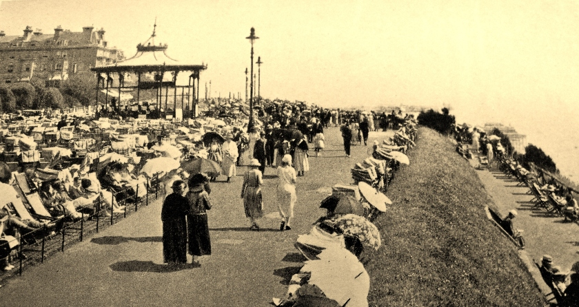 After World War One. Peace returns to The Leas, Folkestone in the 1920s. It is once again a thriving seaside resort.