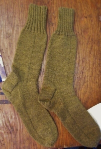 Replica khaki knitted socks for soldiers. Knitted by Melanie Towne using original pattern from World War One. ©Come Step Back In Time.