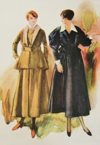 Tailor-made wool and silk suits, Spring, 1916. Featured in Debenham & Company's 'Spring Fashions, 1916'. Catalogue from Lucy's private collection.