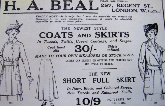 Advert for coats and skirts, December, 1915.