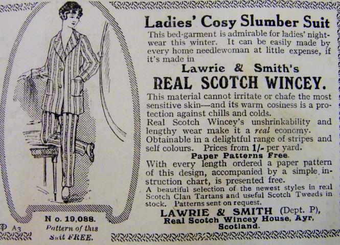 Advert for ladies' pyjamas, December, 1915.