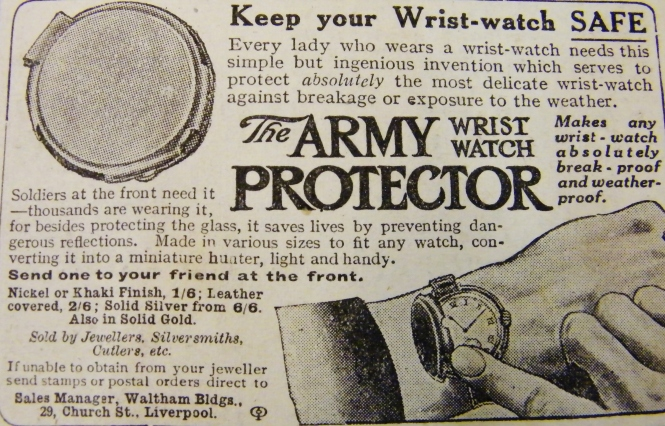 Advertisement for ladies' wrist-watch protectors aimed at the woman undertaking war work.