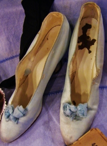 Blue silk evening shoes from Lucy's collection.