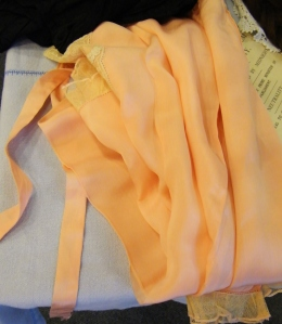 Peach silk and lace pyjamas from Lucy's own collection.