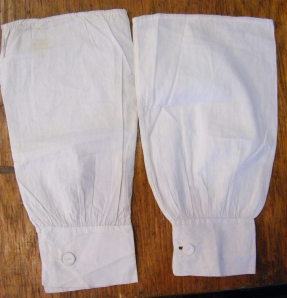 Sleeve protectors worn as part of midwife Winifred Ingram's uniform. Lucy's own collection.