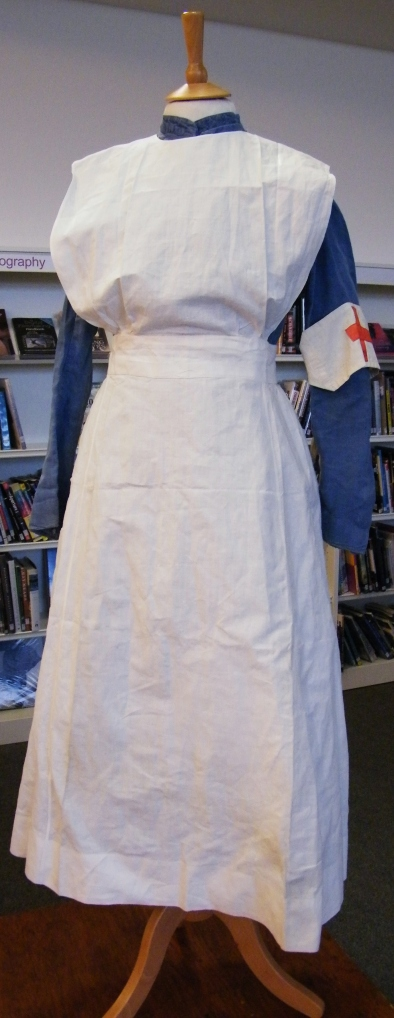 Uniform belong to midwife Winifred Ingram who wore it during the war. Lucy's own collection.