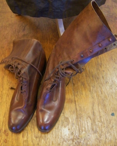 Original lady's lace-up boots from World War One era, worn by Lucy during her talk.