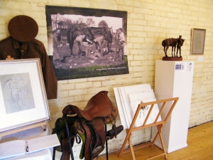 Ranvilles Farm, Nr Romsey, pop-exhibition featuring Amy Goodman's preparatory works for the Romsey War Horse Memorial. ©Come Step Back In Time.
