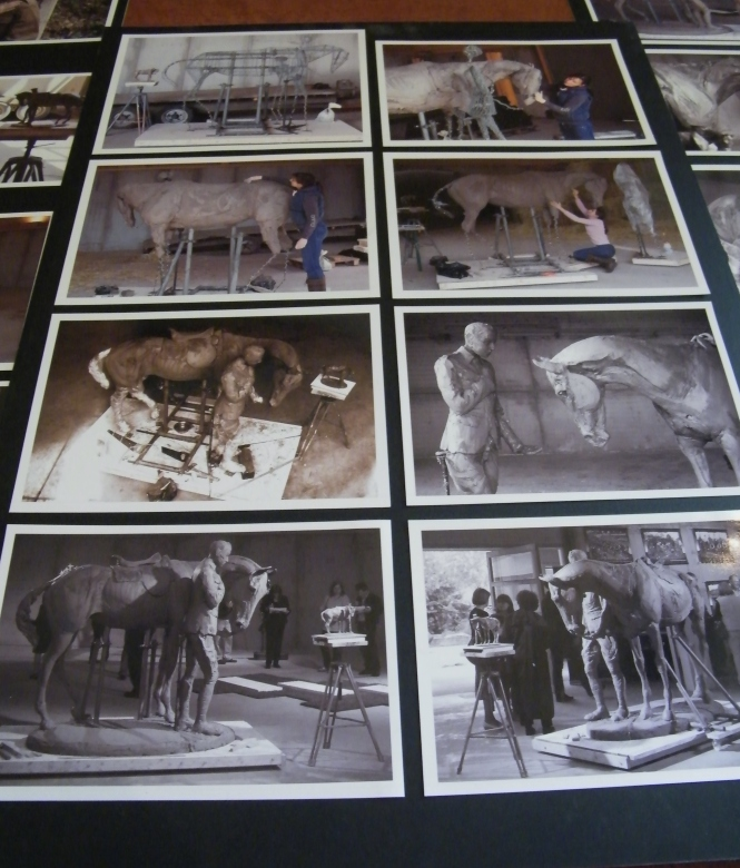 Preparatory works by Amy Goodman for the Romsey War Horse Memorial on display at The Romsey War Horse pop-up Exhibition, Ranvilles Farm. ©Come Step Back In Time.