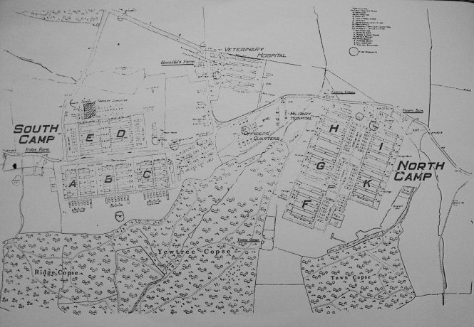 Map of the Romsey Remount Centre as it would have looked in World War One. The current owners of Ranvilles Farm kindly showed me this drawing.