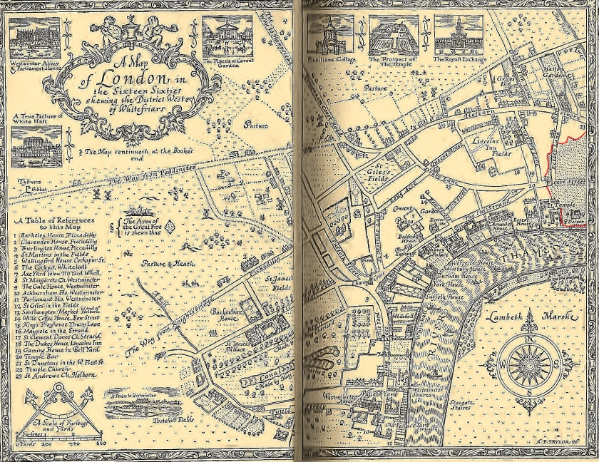 Map of London in 1660s showing the districts west of Whitefriars. Illustration by Ernest H. Shepard (1926). From my copy of Everybody's Pepys: The Diary of Samuel Pepys 1660-1669 (1935). On the right of the map I have outlined in red where The Great Fire of London encroached into the Whitefriars district.