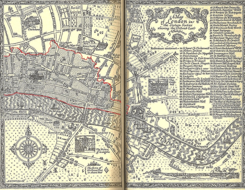 Map shows the district east of Whitefriars. I have outlined in red the extent to which the fire spread in this district. Illustration by Ernest H. Shepard (1926), from Everybody's Pepys: The Diary of Samuel Pepys 1660-1669 (1935).