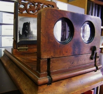 100 year old stereoscopic viewer which allows the user to see two separate images as one single three-dimensional picture. ©Come Step Back In Time