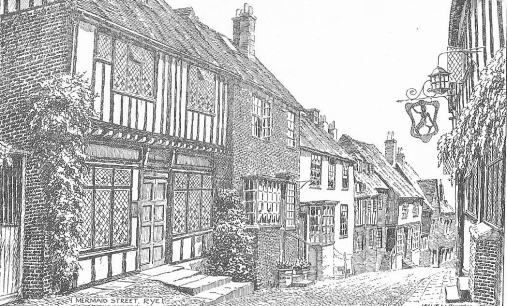Illustration of Mermaid Street, Rye from Rye and District Holiday Guide (1950).